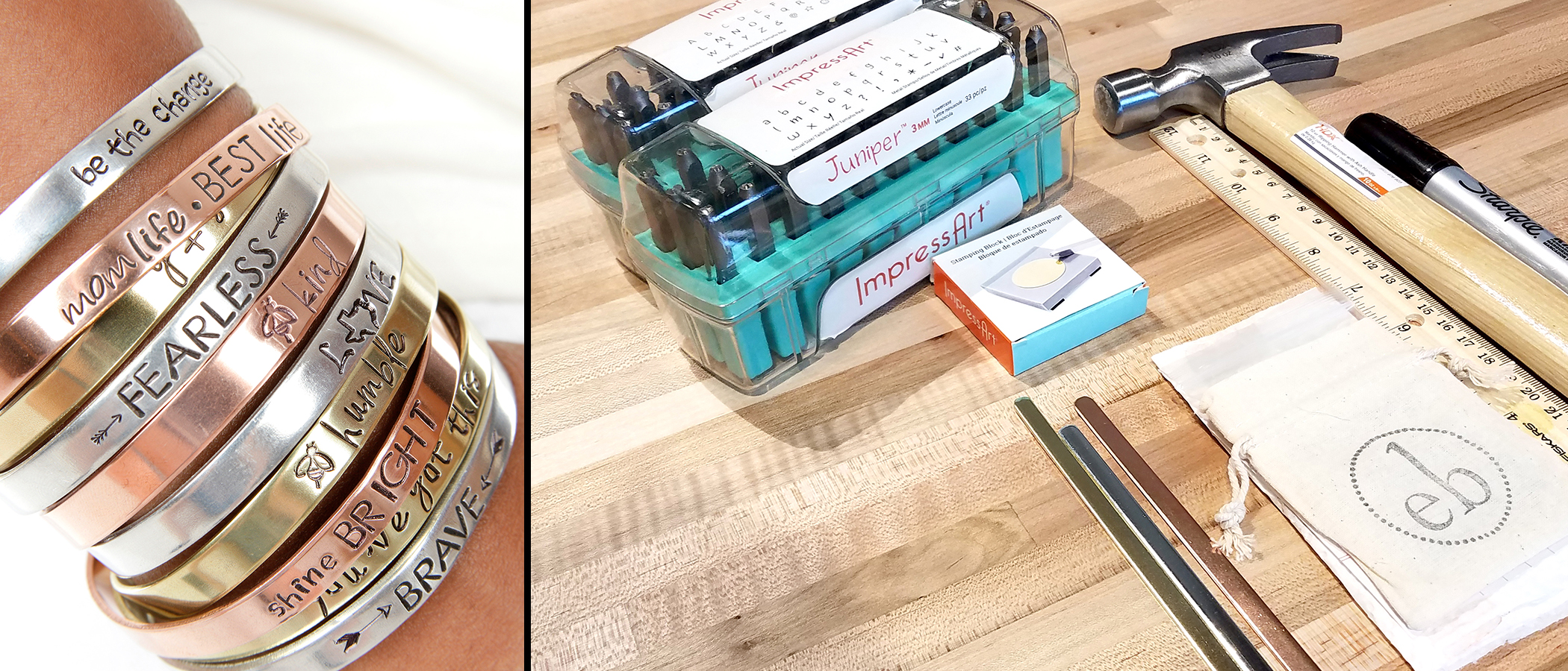 DIY Hand stamping class and supply kit by expressions bracelets